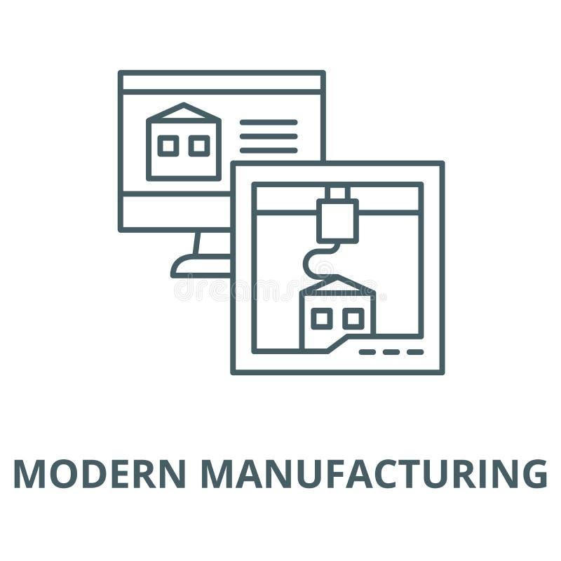 Ligne de fabrication moderne icône, concept linéaire, signe d'ensemble, symbole de vecteur illustration de vecteur