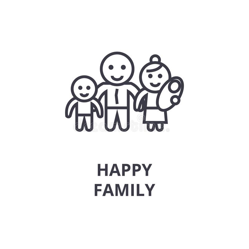 Ligne de famille heureuse icône, signe d'ensemble, symbole linéaire, vecteur, illustration plate illustration de vecteur