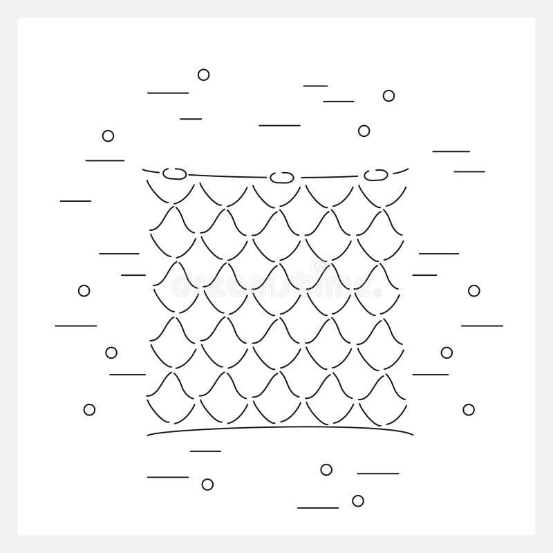 Ligne de filet de pêche logo illustration de vecteur