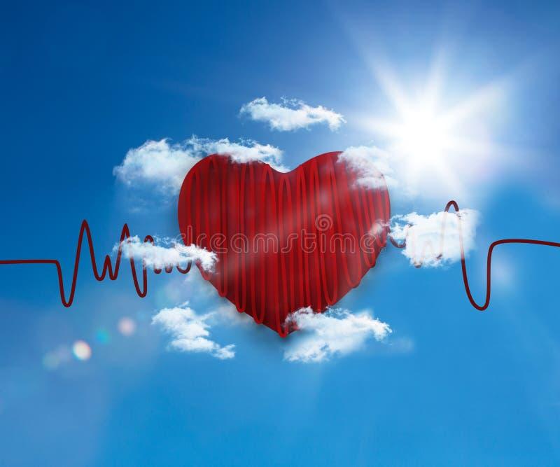 Ligne de fréquence cardiaque dans le ciel illustration de vecteur