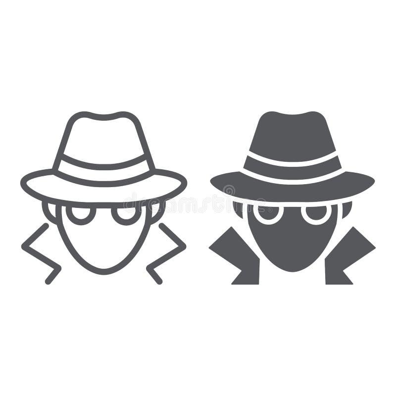 Ligne de fraude et icône de glyph, anonymat et agent, signe d'espion, graphiques de vecteur, un modèle linéaire sur un fond blanc illustration de vecteur