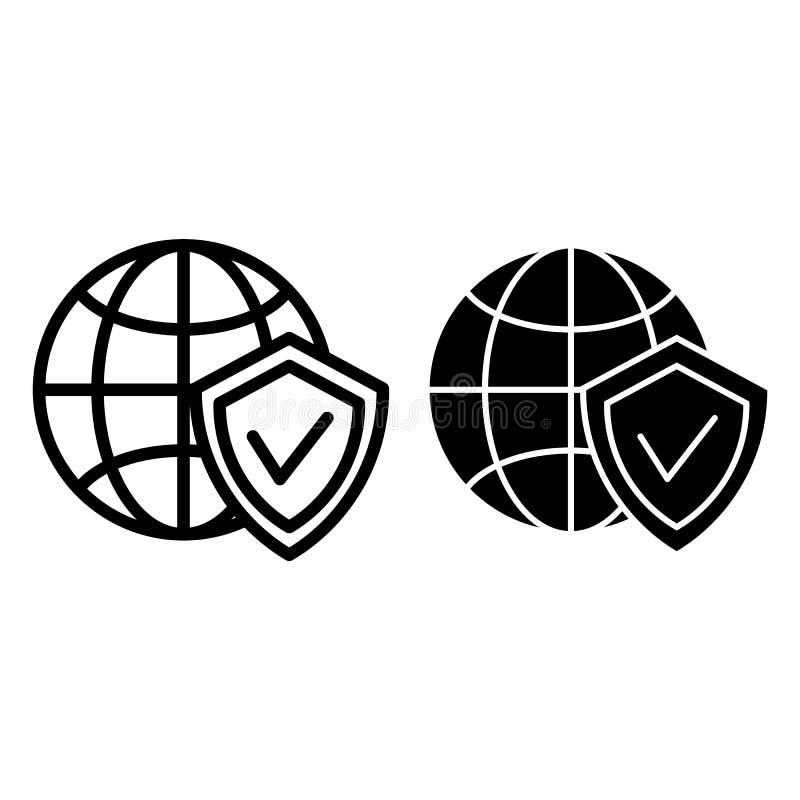Ligne de globe et de bouclier et icône de glyph Planète avec l'illustration de vecteur de bouclier d'isolement sur le blanc Prote illustration libre de droits