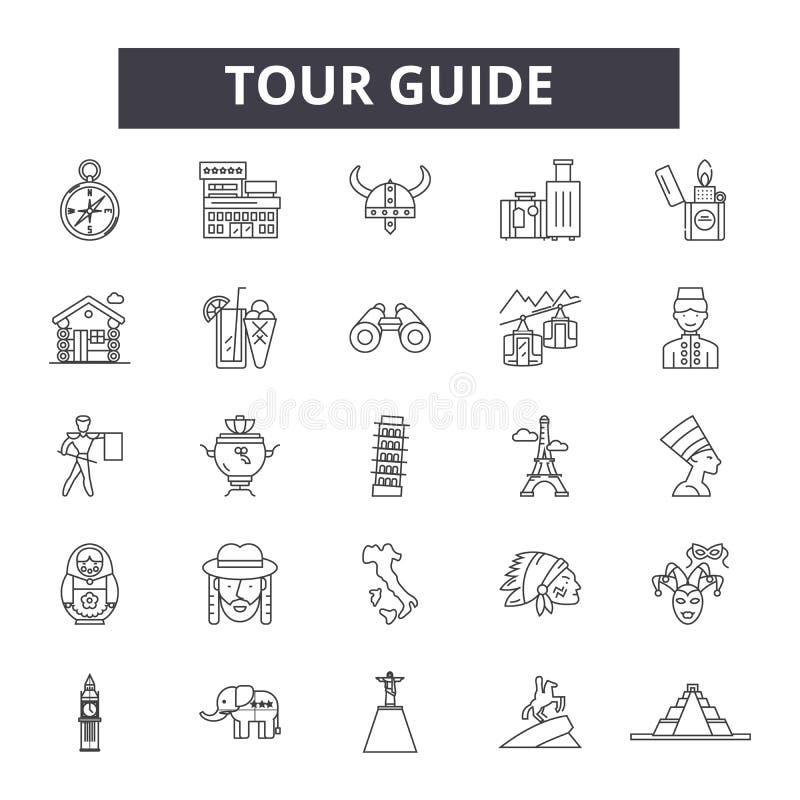 Ligne de guide touristique icônes, signes, ensemble de vecteur, concept d'illustration d'ensemble illustration de vecteur