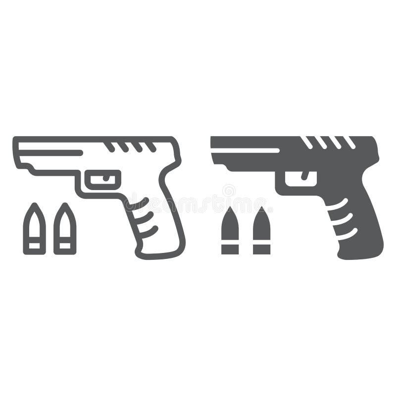 Ligne de jeu de tireur et icône de glyph, jeu et jeu, signe d'arme à feu, graphiques de vecteur, un modèle linéaire sur un fond b illustration libre de droits