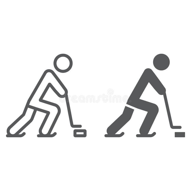 Ligne de joueur de hockey et icône de glyph, sport et patin, signe de hockey sur glace, graphiques de vecteur, un modèle linéaire illustration stock