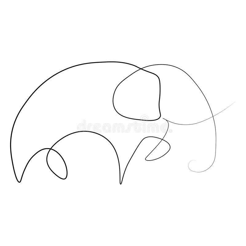 Ligne de l'éléphant un illustration stock