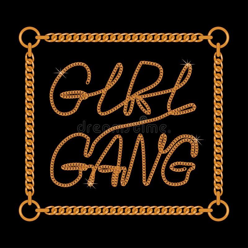 Ligne de la bande une de fille slogan de typographie pour le T-shirt avec la dentelle à chaînes Les graphiques à la mode de tee-s illustration stock