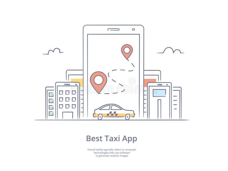 Ligne de la meilleure qualité icône tirée par la main et concept de qualité réglés : APP mobile pour le taxi de commande, télépho illustration libre de droits