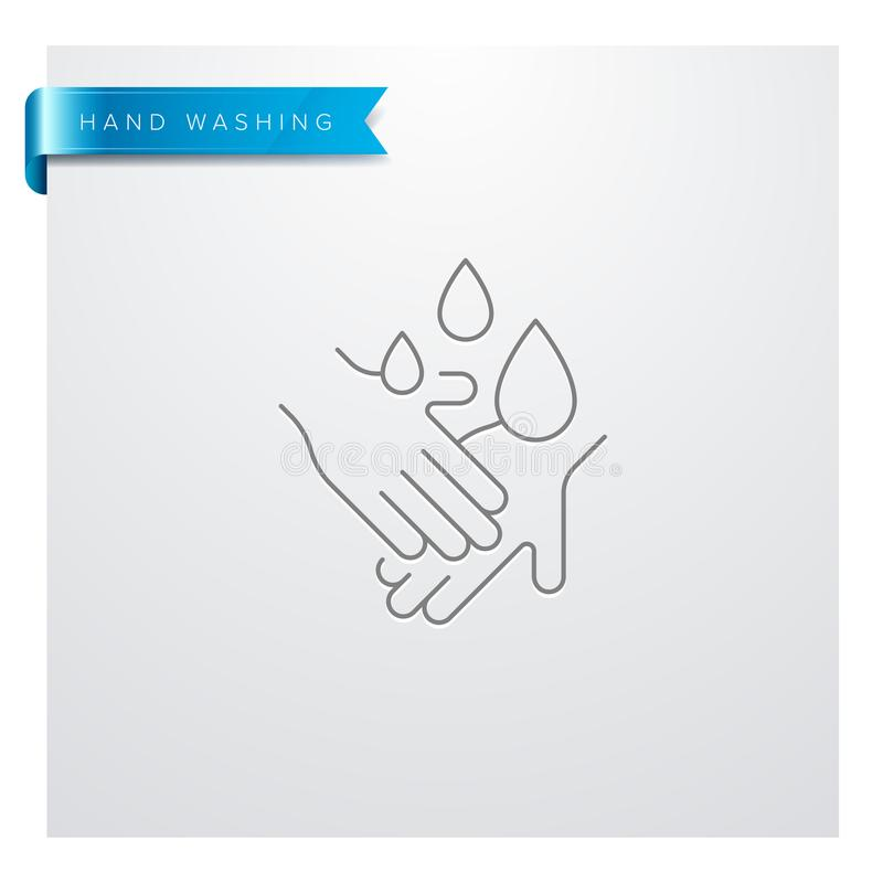 Ligne de lavage icône de main illustration de vecteur
