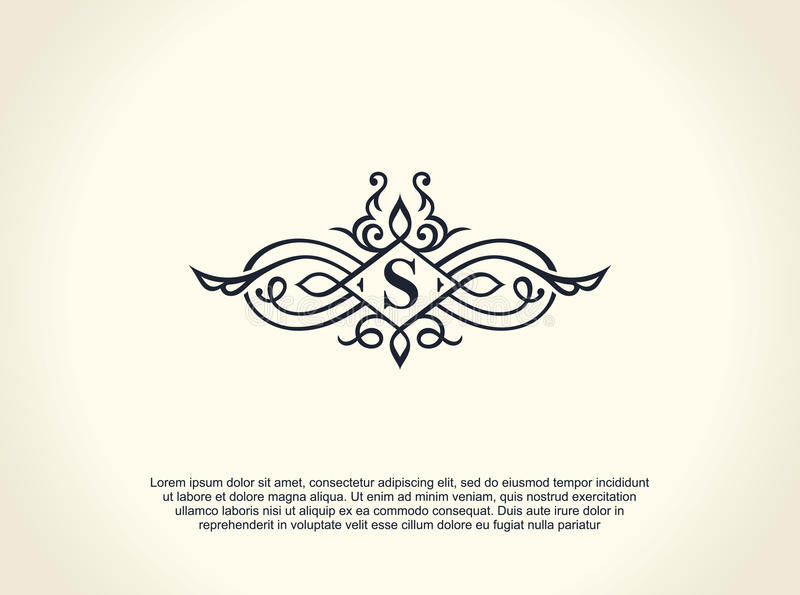 Ligne de luxe calligraphique logo S'épanouit le monogramme élégant d'emblème Conception royale de diviseur de vintage illustration de vecteur