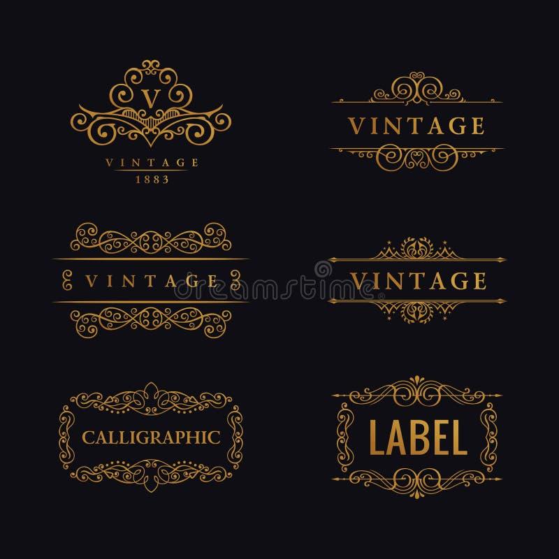 Ligne de luxe calligraphique logo S'épanouit le monogramme élégant d'emblème Conception royale de diviseur de vintage illustration stock