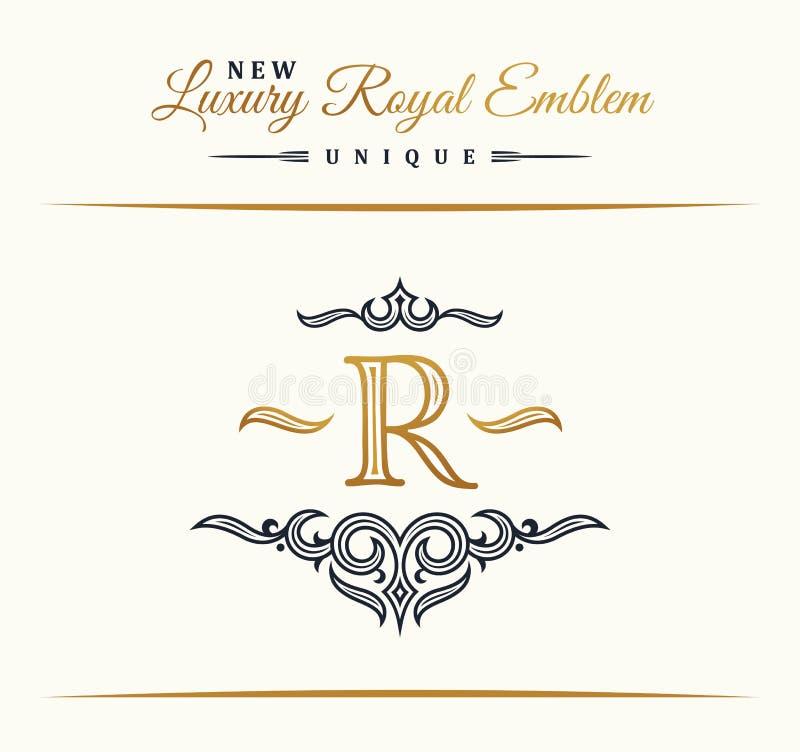 Ligne de luxe calligraphique logo S'épanouit le monogramme élégant d'emblème Conception royale de diviseur de vintage illustration libre de droits