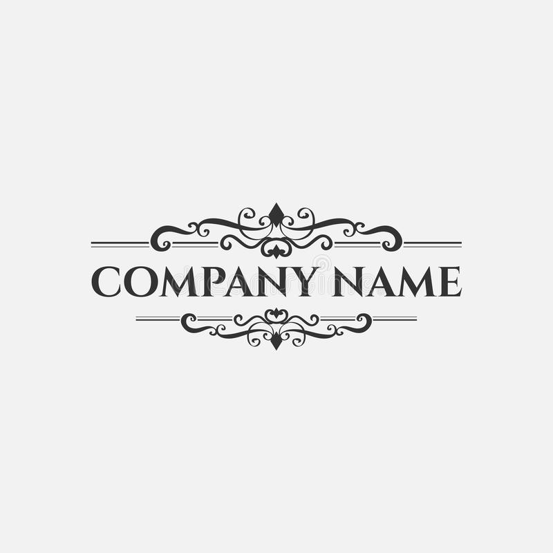 Ligne de luxe calligraphique logo S'épanouit le monogramme élégant d'emblème Conception royale de diviseur de vintage photo stock