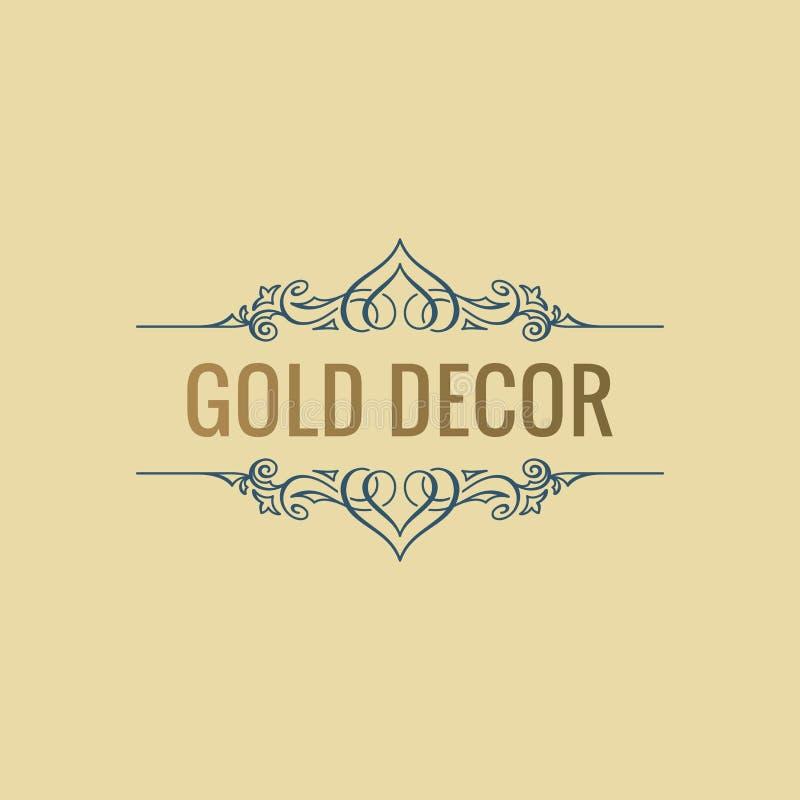 Ligne de luxe calligraphique symbole S'épanouit l'emblème élégant Conception royale de diviseur de vintage illustration de vecteur