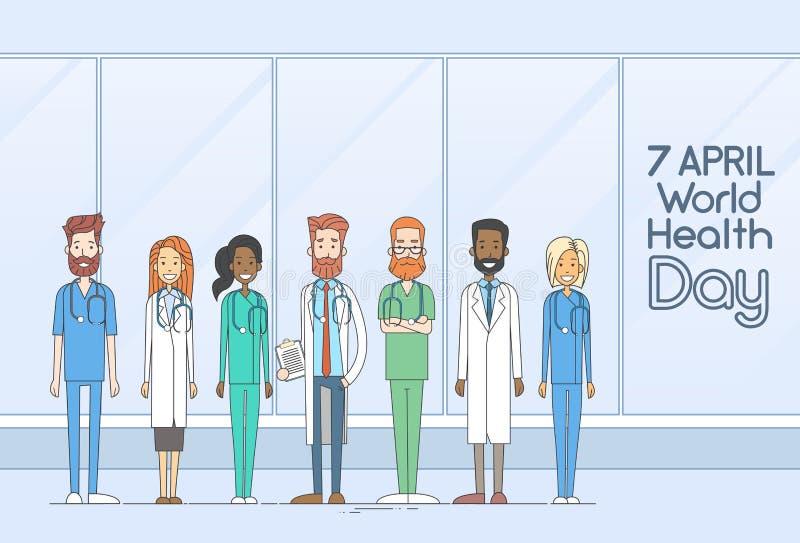 Ligne de médecin Team Group Health Day Thin illustration de vecteur