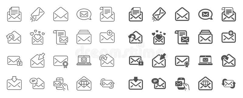 Ligne de message de courrier ic?nes Ensemble de bulletin d'information, email, correspondance Vecteur illustration de vecteur