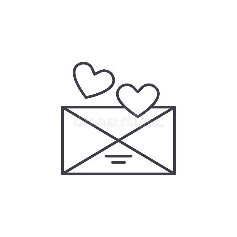 Ligne de message d'amour concept d'icône Illustration linéaire de vecteur de message d'amour, symbole, signe illustration de vecteur