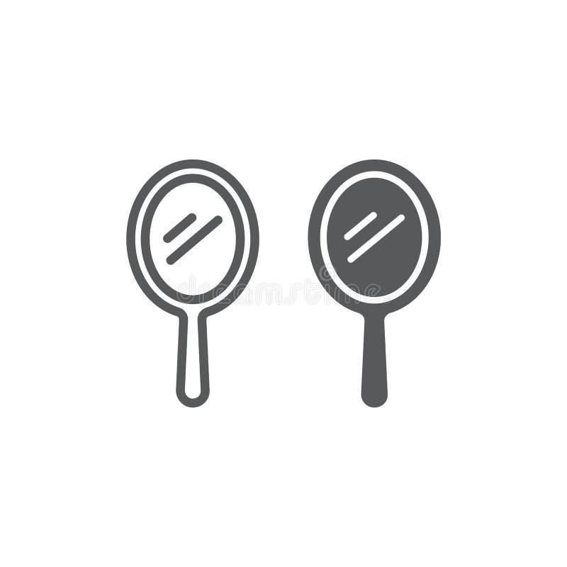 Ligne de miroir de main et icône de glyph, réflexion et verre, signe portatif de miroir, graphiques de vecteur, un modèle linéair illustration stock