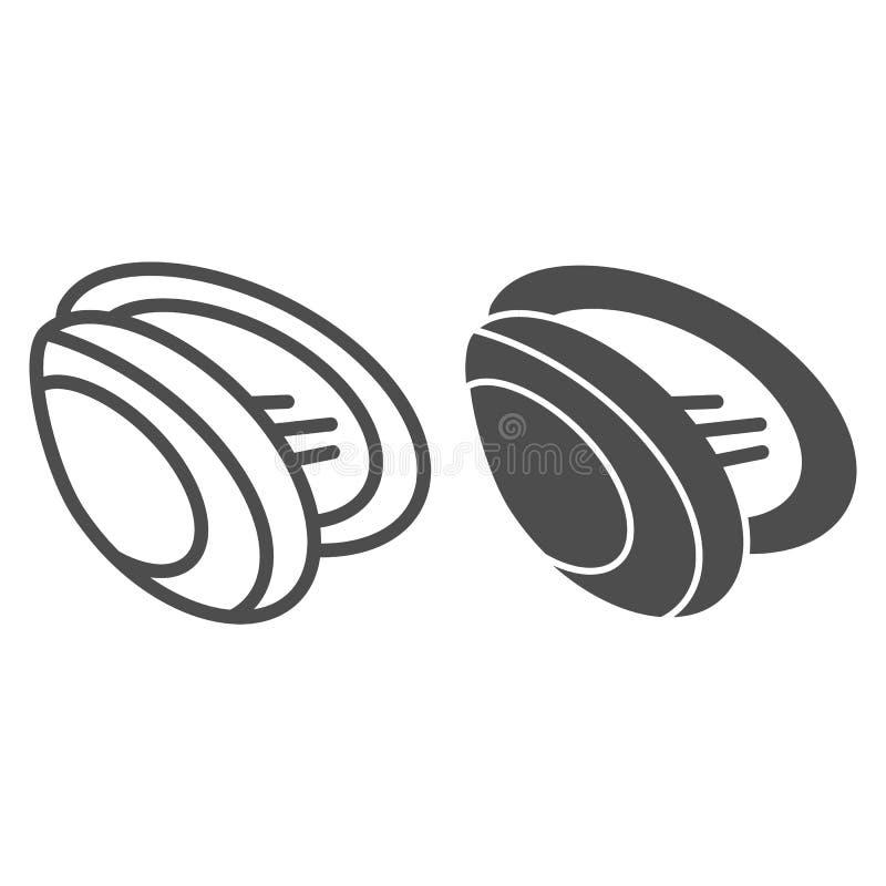 Ligne de moule et icône de glyph Illustration de vecteur de Shell d'isolement sur le blanc Conception de style d'ensemble de frui illustration stock