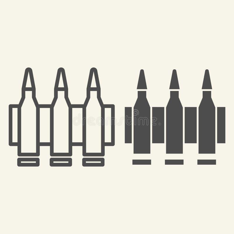 Ligne de munitions et icône de glyph Illustration de vecteur de balles d'isolement sur le blanc Conception de style d'ensemble de illustration de vecteur