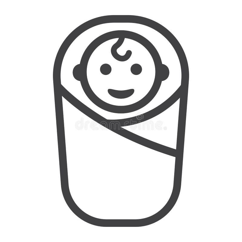 Ligne de naissance de bébé icône, enfant et nouveau-né illustration stock