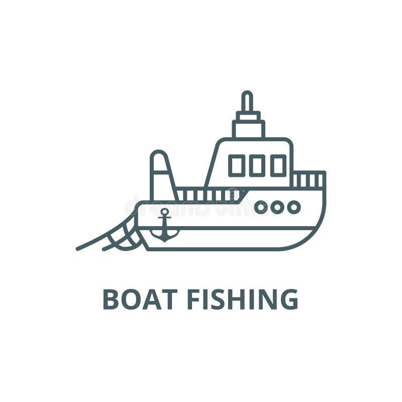 Ligne de pêche de bateau icône, vecteur Bateau pêchant le signe d'ensemble, symbole de concept, illustration plate illustration stock