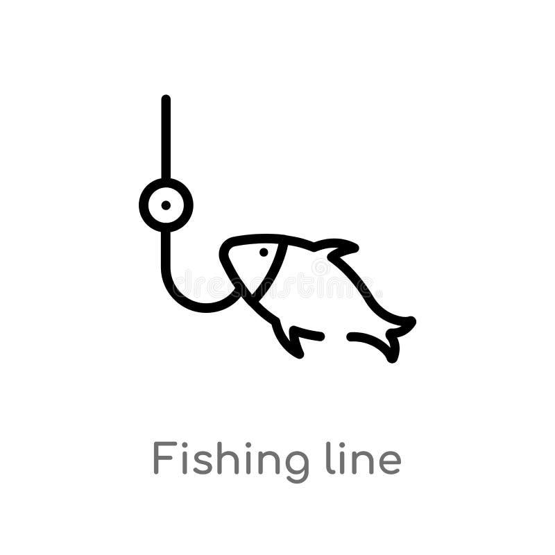ligne de pêche d'ensemble icône de vecteur ligne simple noire d'isolement illustration d'élément de concept de nourriture Course  illustration de vecteur