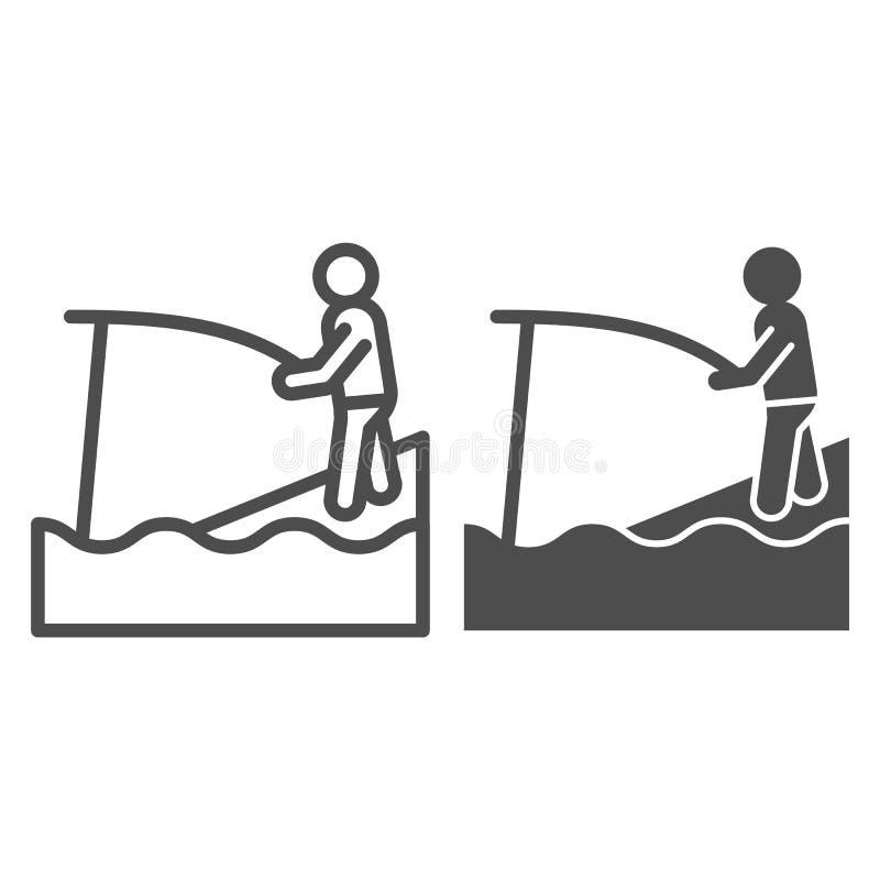 Ligne de pêche et icône de glyph Illustration de vecteur de Fisher et de tige d'isolement sur le blanc Conception de style d'ense illustration de vecteur