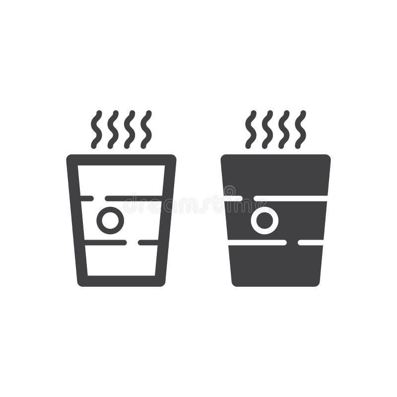 Ligne de papier de tasse de café et icône solide, contour et pictogramme de signe de vecteur, linéaire et plein rempli d'isolemen illustration stock