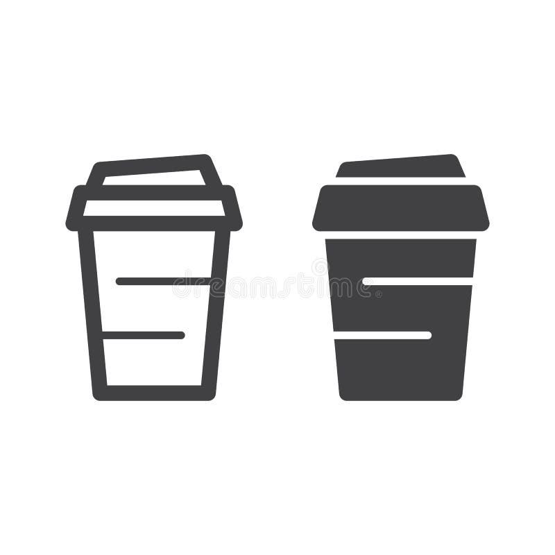 Ligne de papier de tasse de café et icône solide, contour et pictogramme de signe de vecteur, linéaire et plein rempli d'isolemen illustration de vecteur