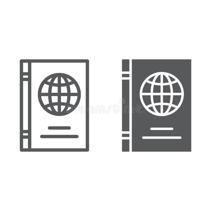 Ligne de passeport et icône de glyph, identification et voyage, signe de document d'identité, graphiques de vecteur, un modèle li illustration de vecteur