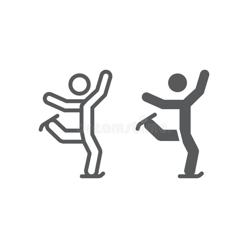 Ligne de patinage artistique et icône de glyph, sport et patin, signe de patinage de glace, graphiques de vecteur, un modèle liné illustration de vecteur