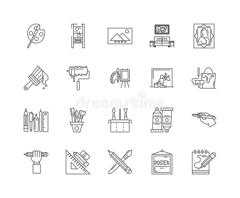 Ligne de peinture à la maison icônes, signes, ensemble de vecteur, concept d'illustration d'ensemble illustration libre de droits