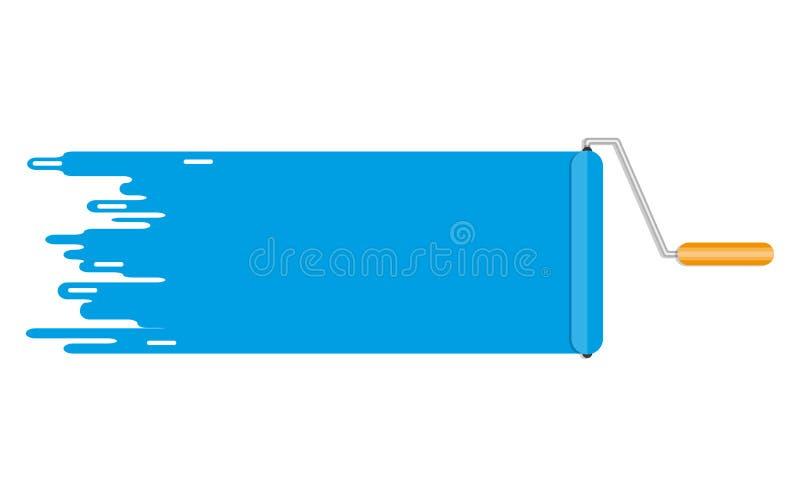 Ligne de peinture bleue de brosse de rouleau Copyspace pour le texte illustration de vecteur
