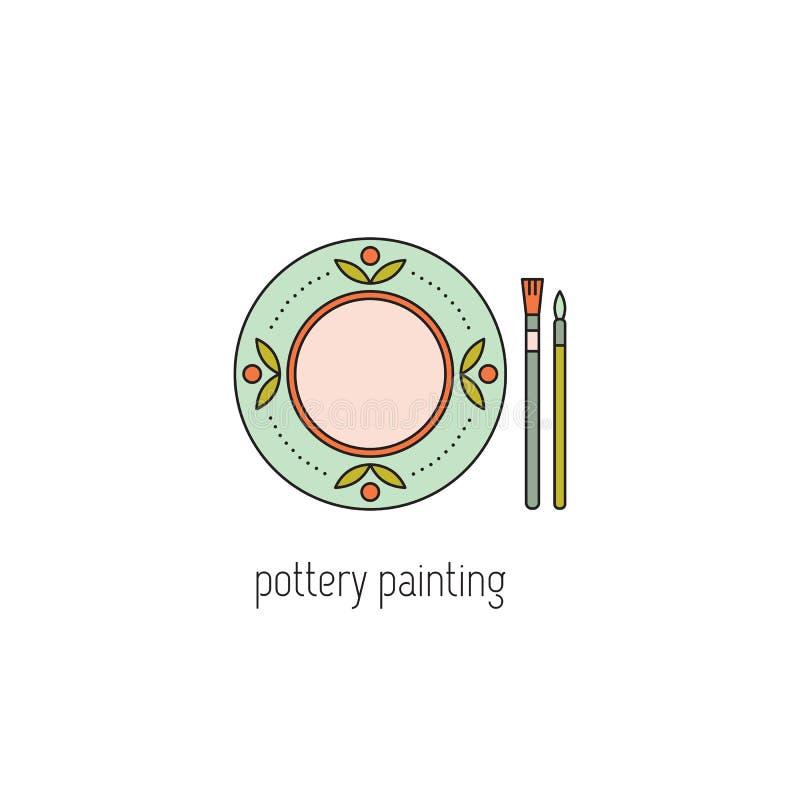 Ligne de peinture de poterie icône illustration libre de droits