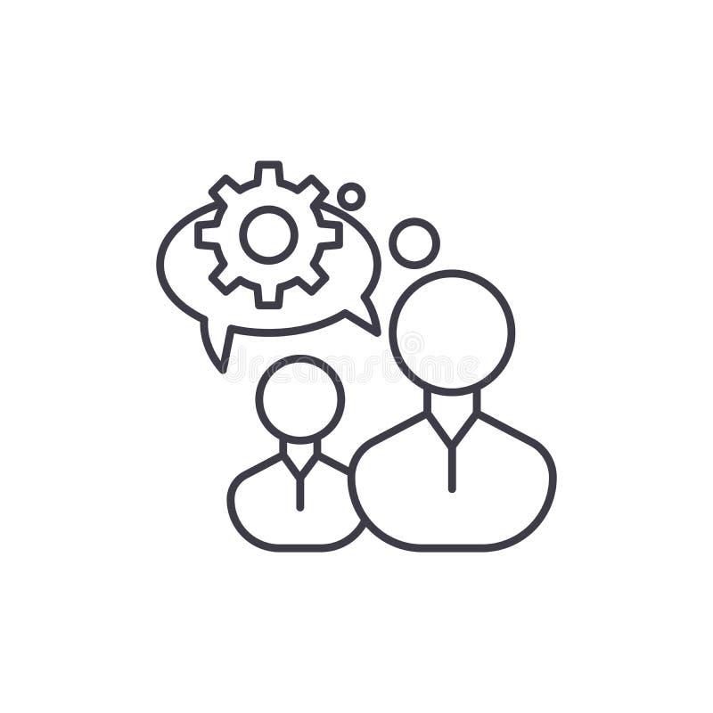 Ligne de pensée concept d'ingénierie d'icône En machinant la pensée dirigez l'illustration linéaire, symbole, signe illustration stock