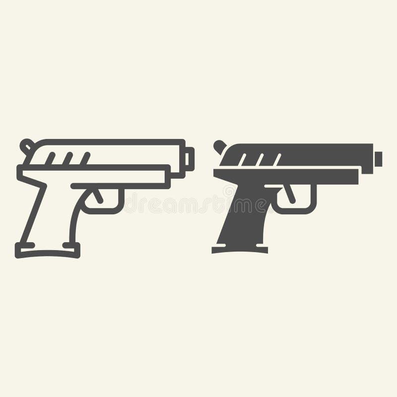 Ligne de pistolet et icône de glyph Illustration de vecteur de pistolet d'isolement sur le blanc Conception de style d'ensemble d illustration libre de droits
