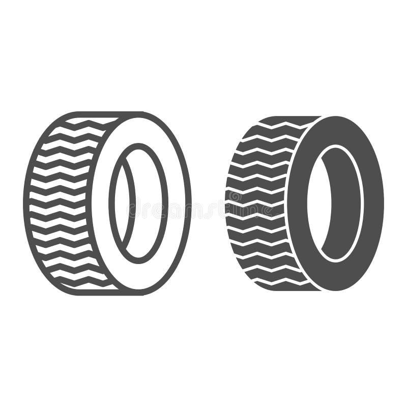 Ligne de pneu et icône de glyph Illustration de vecteur de roue de voiture d'isolement sur le blanc Conception automatique de sty illustration stock