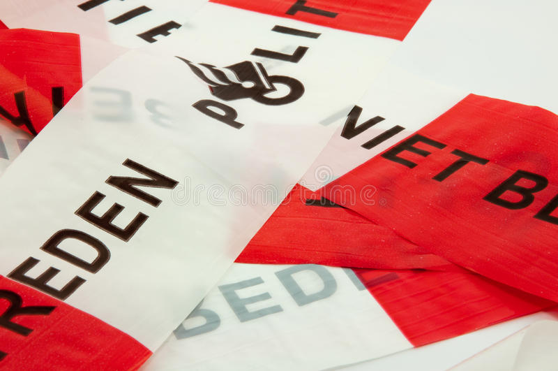Ligne de police rouge et blanche photographie stock libre de droits