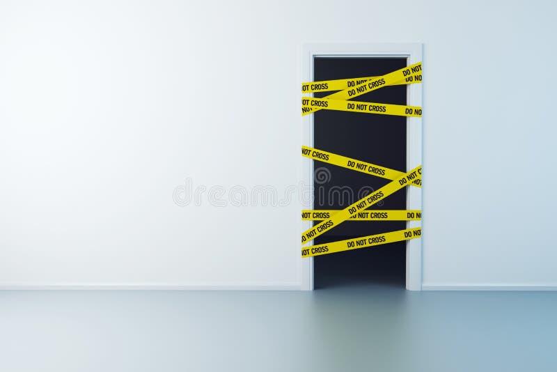 Ligne de police sur la porte illustration de vecteur