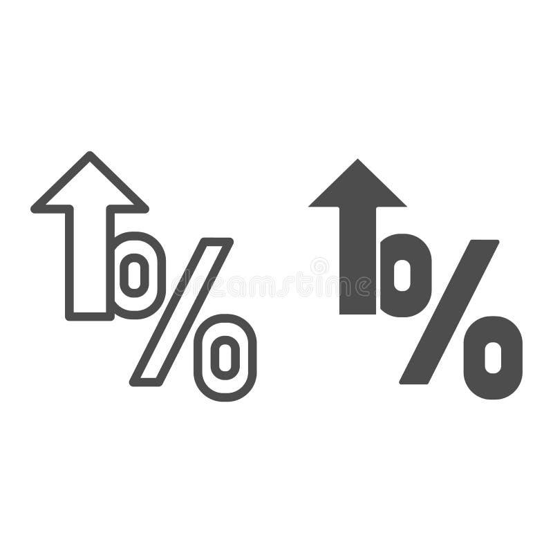 Ligne de pourcentage et icône croissantes de glyph Illustration de vecteur de croissance d'intérêt d'isolement sur le blanc Conto illustration libre de droits