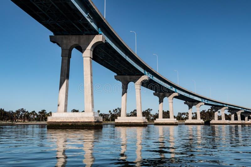 Ligne de poutres en béton/en acier soutenant le pont de Coronado images libres de droits