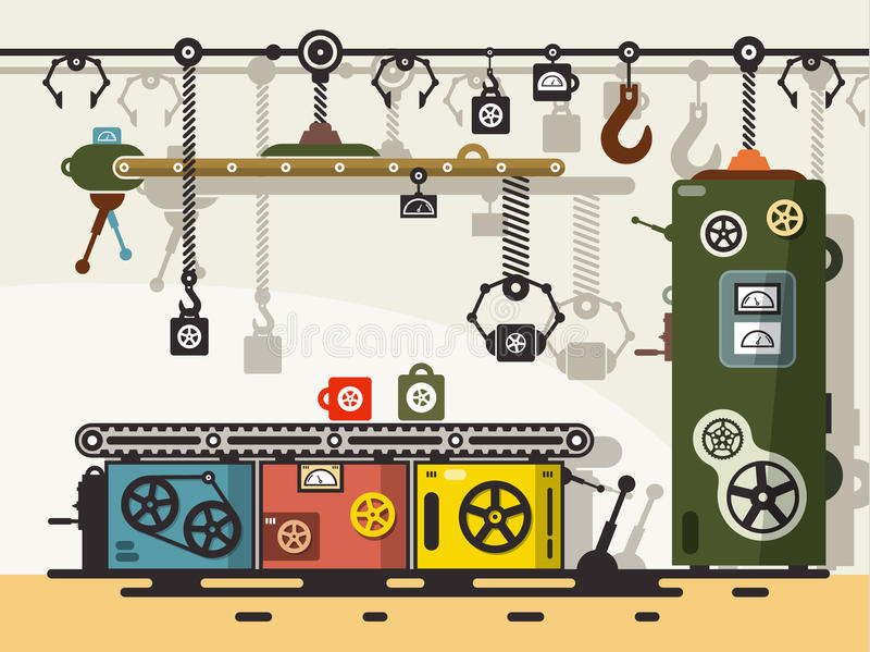 Ligne de production Vecteur plat de conception illustration stock