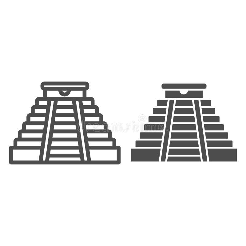 Ligne de pyramide et icône maya de glyph Illustration de vecteur de temple antique d'isolement sur le blanc Style aztèque d'ens illustration de vecteur