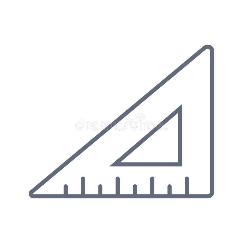 Ligne de r?gle triangulaire g?om?trique ic?ne, signe de vecteur d'ensemble, pictogramme lin?aire de style d'isolement sur le blan illustration de vecteur