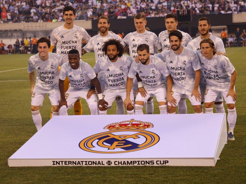 Ligne de Real Madrid contre Atletico De Madrid dans le match international de tasse de 2019 champions au stade de MetLife photos libres de droits