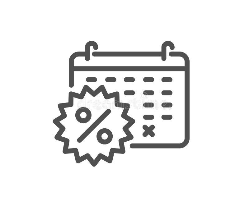 Ligne de remises de calendrier icône Signe d'achats de vente Vecteur illustration de vecteur