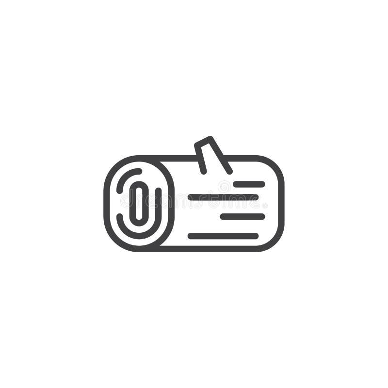 Ligne de rondin en bois icône illustration stock