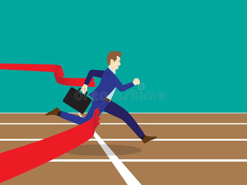 Ligne de Running Through Finish d'homme d'affaires illustration stock
