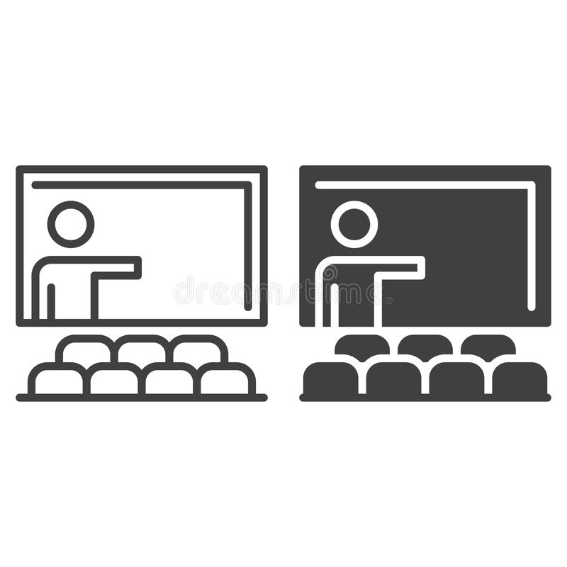 Ligne de salle de classe et icône solide, contour et pictogramme de signe de vecteur, linéaire et plein rempli d'isolement sur le illustration libre de droits